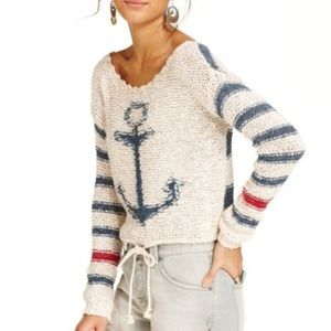 Free People Sailor Song Pullover Anchor Sweater